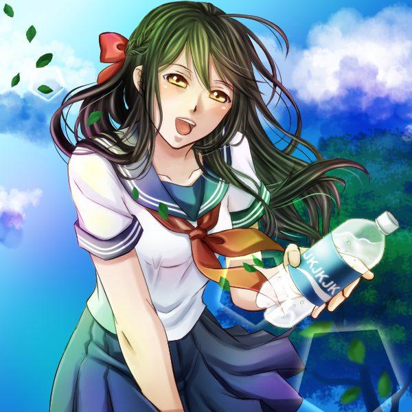 ペットボトルを差し出す女子高生